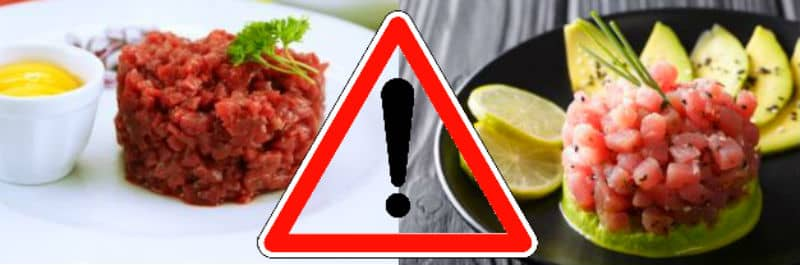 comer stik tartar de carne cruda y pescado crudo